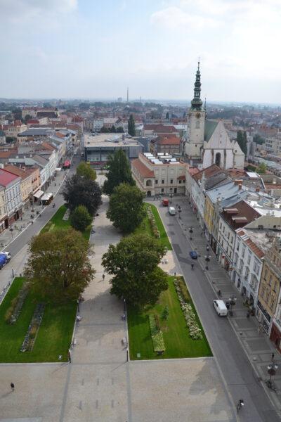 Výhled na město z radniční věže