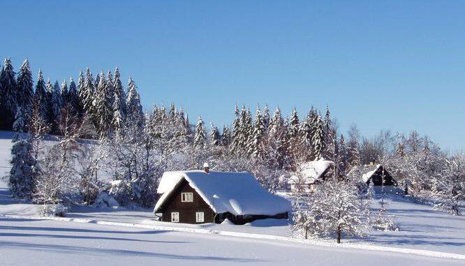 Chaty na Gruni v zimě